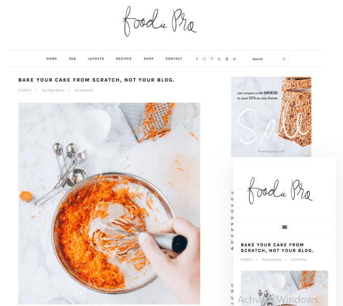 Foodie Pro Paid WordPress theme