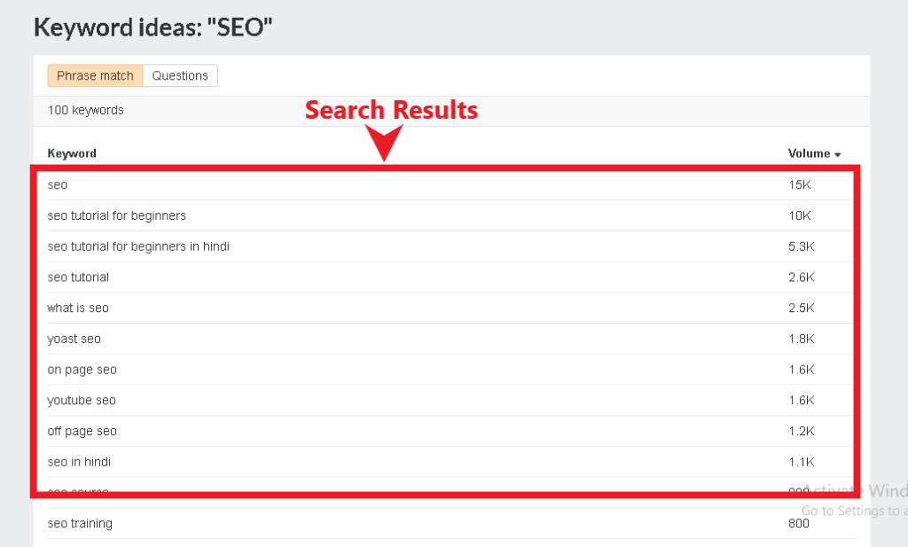 ahrefs search results