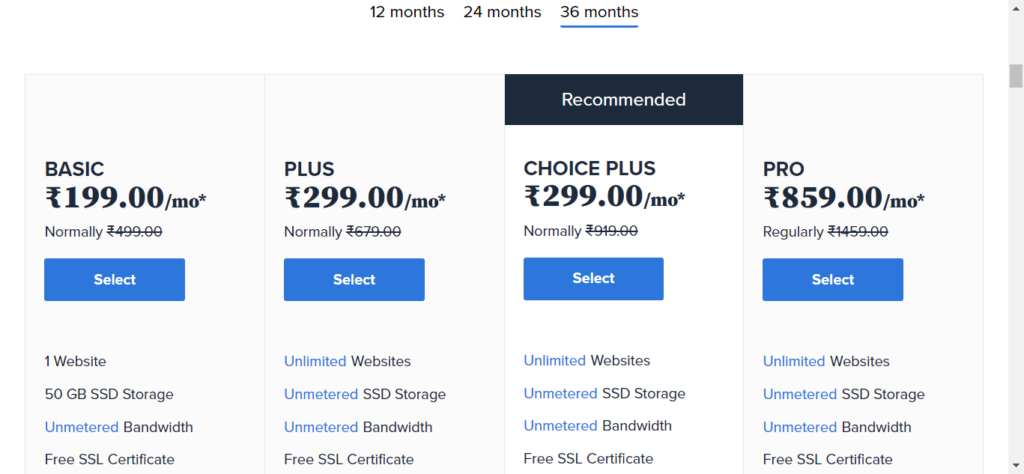 select a shared hosting plan